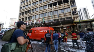 Lebanese troops sealed the area around the hotel as armed men fanned out on the street [Reuters]