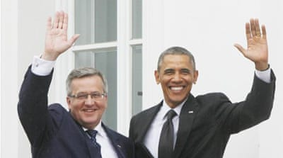 US President Barack Obama and Polish President Bronislaw Komorowski discussed the use of shale gas during the Obama's two visit to Poland [AP]