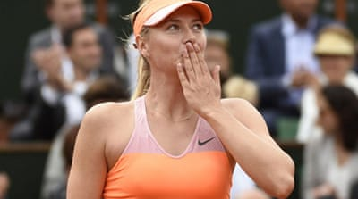 Sharapova will face Canadian Eugenie Bouchard in the semi-finals at Roland Garros [AFP]