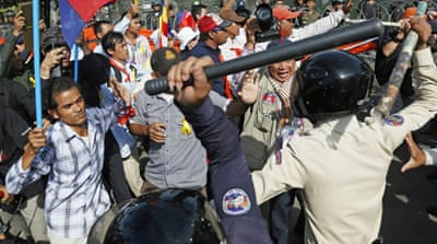 Cambodian police fired tear gas into an opposition rally leaving serveral people seriously injured [AFP]
