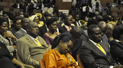 Second Deputy Prime Minister Moses Ali, middle, listens to the state-of-the-nation address [Mukiibi Sserunjogi]
