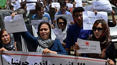 A demonstration in Kabul on Friday condemned the recent killing of civilians in Taliban attacks [AFP]