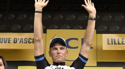 Kittel eked out victory by a half-wheel length at the end of the 163.5km ride [AFP]