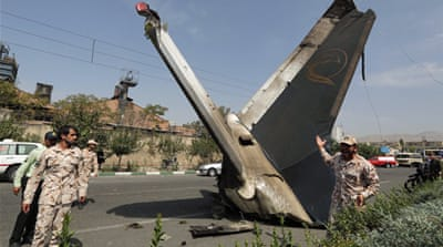 Authorities said a failure in one of the plane's engines caused the aircraft to crash just outside of Tehran [AFP]