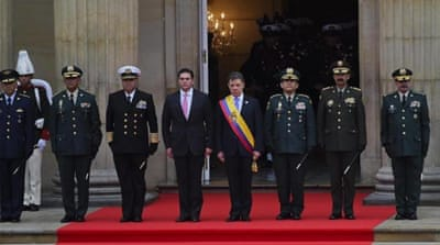 Colombian President Juan Manuel Santos was inaugurated at the National Congress on August 7. [AFP]