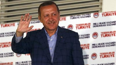 Results showed Erdogan winning 52 percent of the votes in Turkey's first presidential election [Reuters]