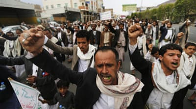 A Saudi-led coalition has launched air strikes on Yemen in an effort to stop the Houthis' advances [AP]