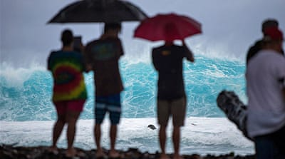 Tropical Storm Iselle could still bring waves of up to 7.5m on the shores of Big Island [EPA]