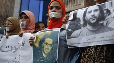 Blogger Alaa Abdel Fattah was recently sentenced to 15 years in jail for participating in a protest last year [AP]