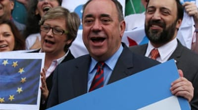 Scottish independence leader Alex Salmond made his name in the 1980s as a left-wing firebrand [EPA]
