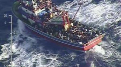 Photos taken from an army helicopter showed the ship in distress [AP/Cyprus Defence Ministry]