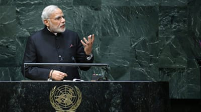Modi's UN speech on Saturday was his first address to the world body since taking power in May [AP]