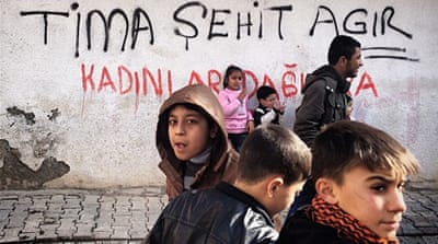 Children in Cizre at a protest over the death of a Kurdish boy killed in clashes with Turkish police [Cale Salih]