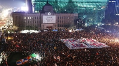 South Korean students protest against the National Intelligence Service intervention in the presidential election [EPA]