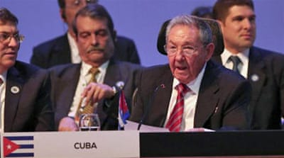 Castro's call for an end to the US embargo drew support at the summit from several Latin American presidents [Reuters]