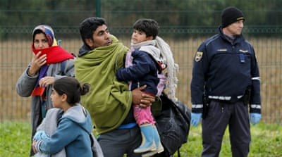 Slovenian police said five buses carrying about 300 people arrived from Croatia [Reuters]