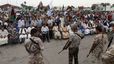 A protest against the proposed unity government was held in Benghazi on Friday [Esam Omran Al-Fetori/Reuters]