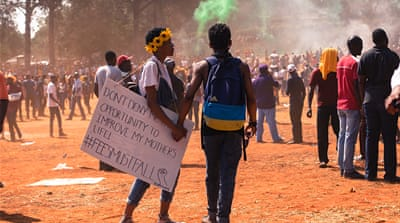 South African students protest education fee hike