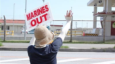 Protesters have been staging demonstrations against the US airbase on Okinawa island [Hitoshi Maeshiro/EPA]