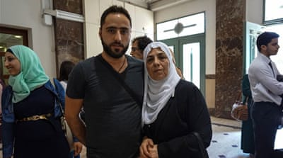 Rafat Sub Laban and his mother Nora at an Israeli court hearing over the fate of their home [File: Patrick Strickland/Al Jazeera]