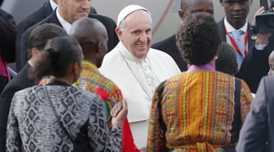 Pope Francis is on a six-day visit to Africa, which will take him to Kenya, Uganda and the Republic of Central Africa. [Daniel Dal Zennaro/EPA]