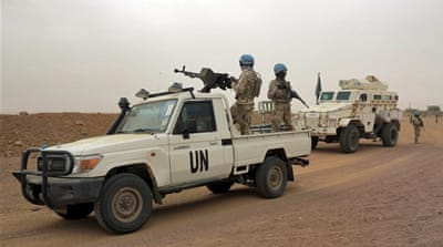 UN peacekeepers patrol in Kidal, Mali in July [Adama Diarra/Reuters]