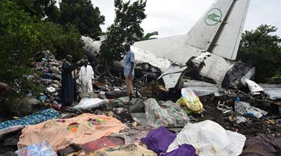 The plane came down on the banks of the White Nile river [Jason Patinkin/Al Jazeera]