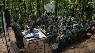 FARC rebels in Colombian jungle