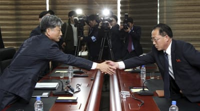 The two delegations met at the jointly run industrial park in the North's Kaesong city [Yonhap via AP]