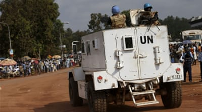 Residents of the area marched to the headquarters of the UN peacekeeping mission to complain about voter intimidation [File: AP]
