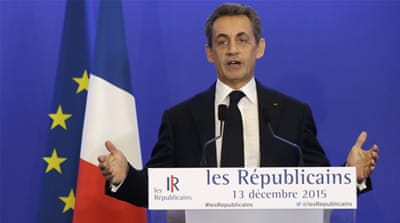 Nicolas Sarkozy speaks after results for  the second-round regional elections in Paris [REUTERS]