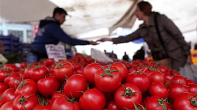 Russia is restricting imports of Turkish fruit and vegetables as part of a package of new sanctions [AP]