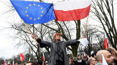 Poland has seen much political and public opposition to its court and media reforms [EPA]