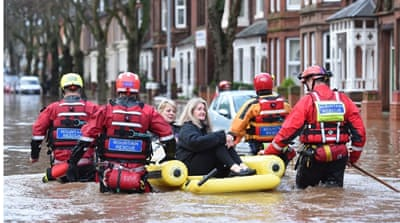 Storm Desmond brought flooding rains and strong winds to parts of the UK [AFP]