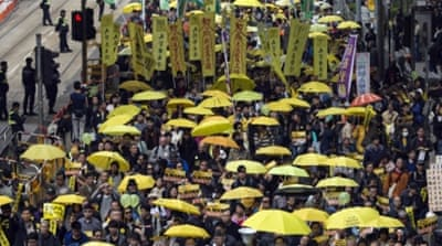 Protesters in Hong Kong continue to demand from China their right to directly elect the city's chief executive [Reuters]