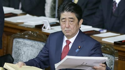 PM Shinzo Abe was criticised over the timing of an earlier $200m pledge to help refugees fleeing ISIL-controlled areas [AP]