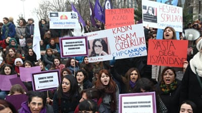 Many protesters, mostly women, poured into the streets to protest against rising violence against women, writes Lepeska [AFP]