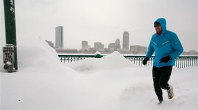 A total of 116cm of snow has fallen on Boston this month, making it the snowiest month on record. [EPA]
