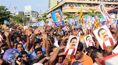 About 20,000 supporters of Rajapaksa staged rally in the capital Colombo [Al Jazeera]