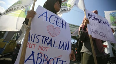 PM Abbott angered Jakarta last week when he linked Australia's 2004 tsunami aid to the fate of two drug smugglers [EPA]