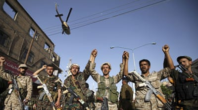 Houthi fighters in Sanaa shouted slogans rejecting foreign interference in Yemen's internal affairs [Reuters]