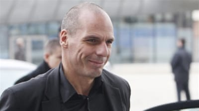 Greece's Finance Minister Yanis Varoufakis is set to hold his first talks with German Finance Minister Wolfgang Schaeuble [AP]