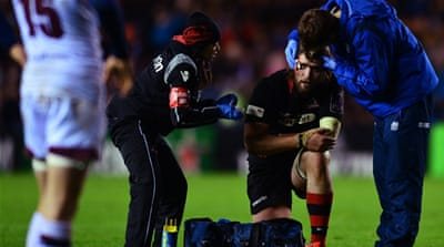 Concussion being tackled in rugby