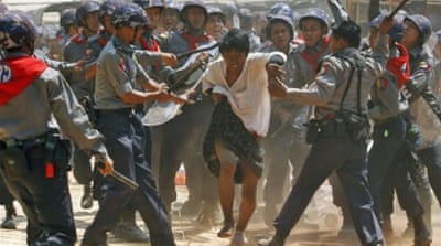 Myanmar police crack down on student protesters