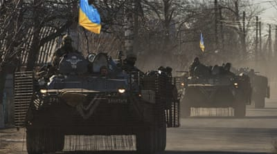 The US package stops short of providing Ukraine with lethal military assistance [AP]