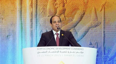 Sisi outlined targets for six percent economic growth and reducing unemployment to 10 percent over the next five years [Reuters]