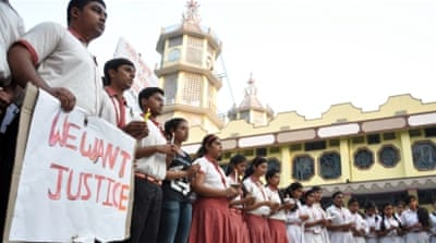 Students took to the streets to protest the rape of a 71-year-old nun at their Christian missionary school [AP]