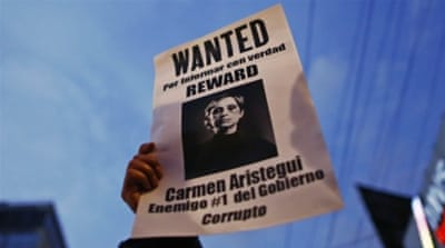 Aristegui was locked in a public battle with her employer since two investigative reporters were fired last week [AP]