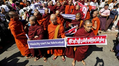 Buddhist monks protest against a UN resolution urging Myanmar to offer Rohingyas full citizenship [EPA]