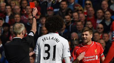 Gerrard sees red as Man Utd edge out Liverpool
